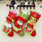Embroidered Velour Lined Xmas Stocking Christmas Santa Claus Snowman Elk Lovely