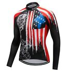 USA Flag Men Women Cycling Jersey Long Sleeve Top Bicycle Bike Cycling Clothes