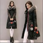 New Korean Winter Womens Coats Faux Fur Collar Hooded POM POM Padded Overcoat