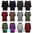 Womens Tops Ladies Cut Out Shoulder Dress Baggy Loose Batwing Tunic Plus Size