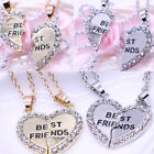 2PCS Love Heart Pendant Necklace Sisters Best Friends Families Gift Jewelry New