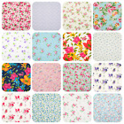 Vintage Floral Fabric - Roses Pink Blue - Craft Polycotton Material - 1/2 metre