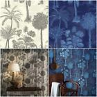 SOPHIE CONRAN COCONUT GROVE PALM TREE WALLPAPER - MIDNIGHT BLUE & NATURAL CREAM
