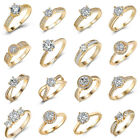 Wholesale Yellow Gold Filled Big Sapphire Crystal Women Engagement Cluster Ring