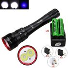 Underwater 50M 10000Lm 2xXM-L2 Blue LED Diving Scuba Flashlight 18650 Dive Torch