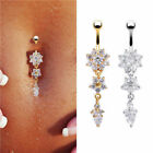 New 2Colors Women Crystal Flower Navel Button Ring Body Piercing Gold/Silver