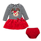Cute Newborn Baby Girls Princess Dress Skirt+Pants Dress Christmas Outfits Set