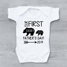 Personalised Our 1st First Father's Day Bear Unisex Baby Grow Bodysuit