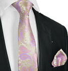 Cashmere Rose and Gold Tie and Pocket Square Set by Paul Malone