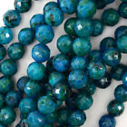 "Faceted Blue Green Azurite Round Beads 15.5"" Strand 4mm 6mm 8mm 10mm 12mm"