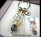Beautiful Two Tone Angelic Feathers Heart BEST FRIENDS Wings Keyring Key Ring