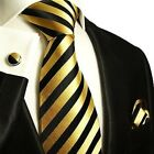 Silk Necktie, Hanky and Cufflinks by Paul Malone . Gold and Black Stripes