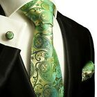 Silk Necktie Set by Paul Malone . Green and Gold Paisley
