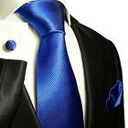 Solid Royal Blue Silk Tie, Hanky and Cufflinks by Paul Malone Palm Beach