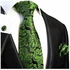 Emerald Green Paisley Silk Tie, Pocket Square and Cufflinks by Paul Malone