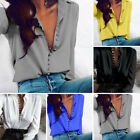 New Women Sexy V-Neck Long Sleeve Loose Blouse Summer Casual Shirt Tops 2XL