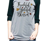 New Women Ladies Long Sleeve Thanksgiving Blouse Pullover Tops Patchwork T-Shirt