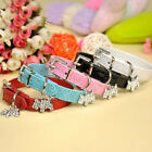 5 Colors Leather Dog Cat Puppy Collar Rhinestone Buckle Puppy Charm Pet Collar