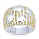 Gold-Tone Rope Filigree Heart Purity Cutout Ring Sterling Silver Band Sizes 6-9