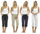 Ladies Linen Trousers Viscose Summer 3/4 Three Quarter Cropped Pants Tie Waist