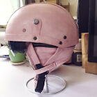 Vintage Motorcycle Cruiser Open Face Leather Half Helmet Retro Handwork Helmets