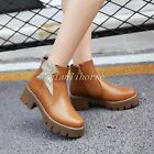 Women Side Zip Round Toe Block Mid Heel Riding Ankle Boots Roman Casual Shoes Sz