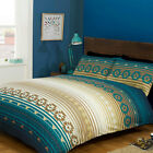 Ethnic Tribal Stripe Duvet Cover Set with Pillow Case in Turquoise & Navy Blue