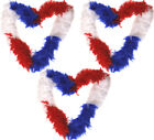 RED WHITE BLUE FEATHER BOA FANCY DRESS ACCESSORY LOT GREAT BRITAIN SUPPORTER