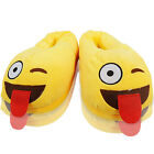 NEW WOMENS LADIES EMOJI NOVELTY WINK TONGUE SLIP ON INDOOR SLIPPERS SHOES SIZE
