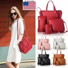 4pcs Of Set Women Leather Handbag Shoulder Bags Tote Purse Satchel Messenger Us