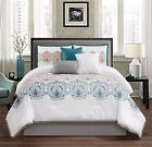 Chezmoi Collection 7pc Teal/Gold/Gray/White Embroidered Medallion Comforter Set image
