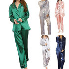 Women Ladies Long Sleeve Satin Sleepwear Robes Nightwear Set Homewear Pajamas US