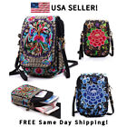 Women Crossbody Bag Floral Cellphone Bag Mini Purse Retro Embroidery Wallet US