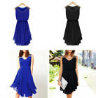 Women Beach Chiffon Mini Dress Sleeveless Party Evening Cocktail Short Dress