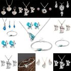 Fashion Women Crystal Pearl Gemstone Pendant Chunky Chain Necklace Jewelry Set