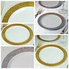 "7.5"" White Round Plastic Disposable Dessert Plates with Shiny Dust Rim SALE"