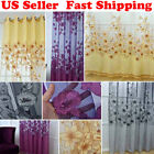 Upscale Floral Tulle Room Door Blackout Window Curtain Drape Panel Flower Scarf