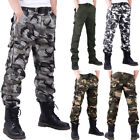 Mens Urban Camo Cargo Pants Multi-pocket Trousers Relaxed Overalls Baggy Cotton