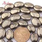 Natural Pyrite Silver Gray Oval Stone Spacer Loose Beads for Jewelry Making 15""