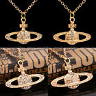 New Fashion Jewelry Women Diamante Crystal Planet Shaped Pendant Necklace Chain