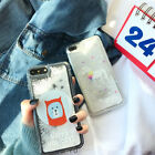 Cute cartoon Bear Flowing Snowflake Soft Gel case Cover For iPhone X 8 7 6S Plus