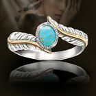 BA_ Women Silver Plated Turquoise Feather Ring Cocktail Party Wedding Jewelry Ch