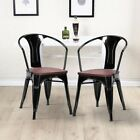 Home Furniture Set of 2 Tolix Style Armchair Wood Covering +Iron Leg Gloss US New