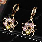 Limited 2018 New Real Gold GP Cubic Zirconia Wedding Party Flower Drop Earrings