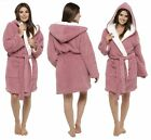 Womens Hooded Fleece Dressing Gown Ladies Sherpa Lined Design Winter Warm Robe