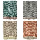 New Diamond Woven Throw Loose Weave Sofa Bed Blankets 100% Recycled Cotton