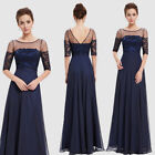 Ever-Pretty Women Lace Long Sleeve Long Chiffon Lace Prom Party Gown Blue 08459