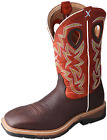 Twisted X Men's Wide Square Toe Lite Cowboy Work Boot - Brown/Orange