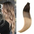 blonde to strawberry blonde hair - 16'' 20PCS Dark Brown To Strawberry Blonde Remy PU Tape in Human Hair Extensions