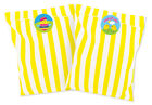 Easter stickers (30 mm) with yellow & white striped paper party bags, pack of 24